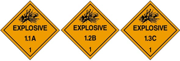 Official signage for three types of explosives