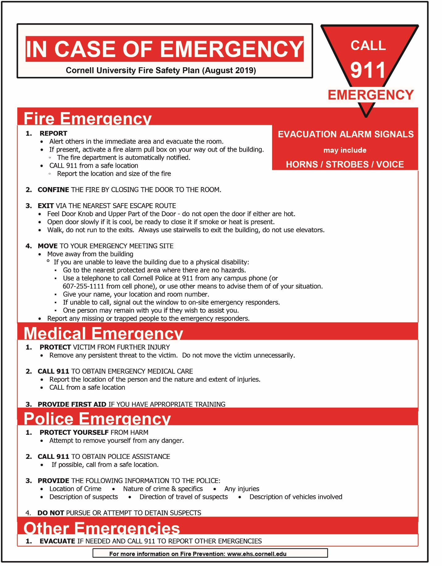 Fire Safety Plan (August 2019) Poster